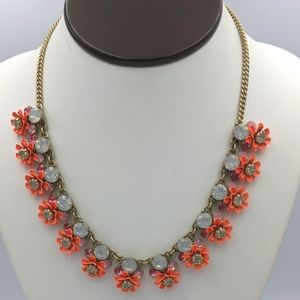 J. Crew Rare Coral Gold Flower Crystal Necklace